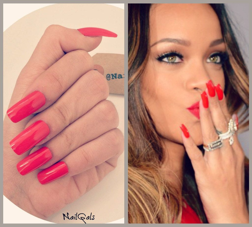 Rihanna style red long square nails set - hand painted - nail art ...