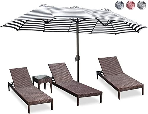 Amazing offer on ABCCANOPY 15'Double-Sided Aluminum Table Patio Umbrella  Crank,Garden Large Umbrella  Tilt Camping,Swimming Pool 7+Colors,Black&White online - Prettytoppro #largeumbrella