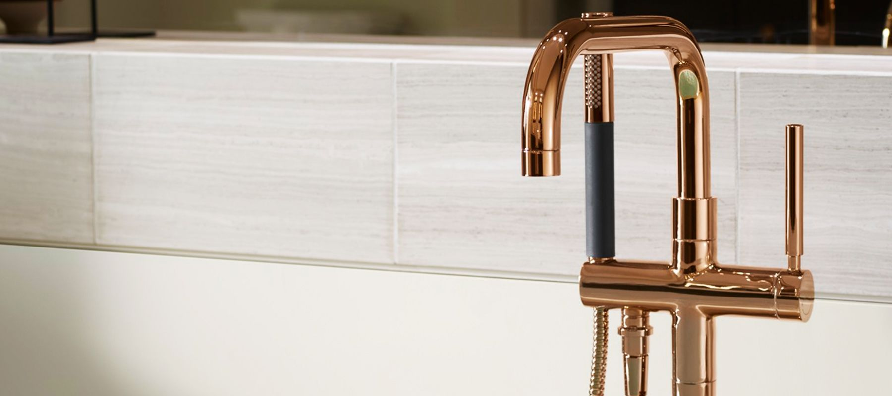 Kohler S Newest Vibrant Rose Gold Faucet Finish Blends Two Of