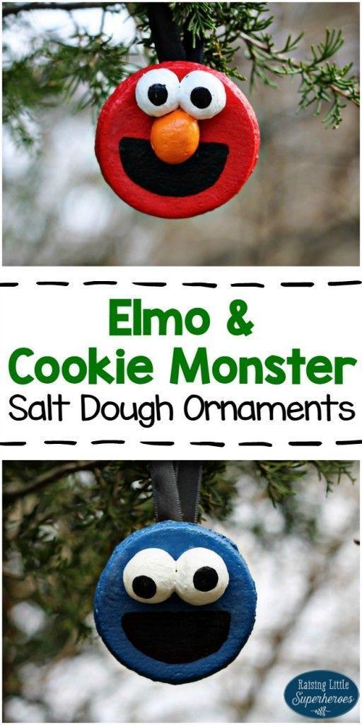 Elmo and Cookie Monster Salt Dough Ornaments - - #cookie #Dough #Elmo #Monster #ornaments #Salt #saltdough #saltdoughornaments