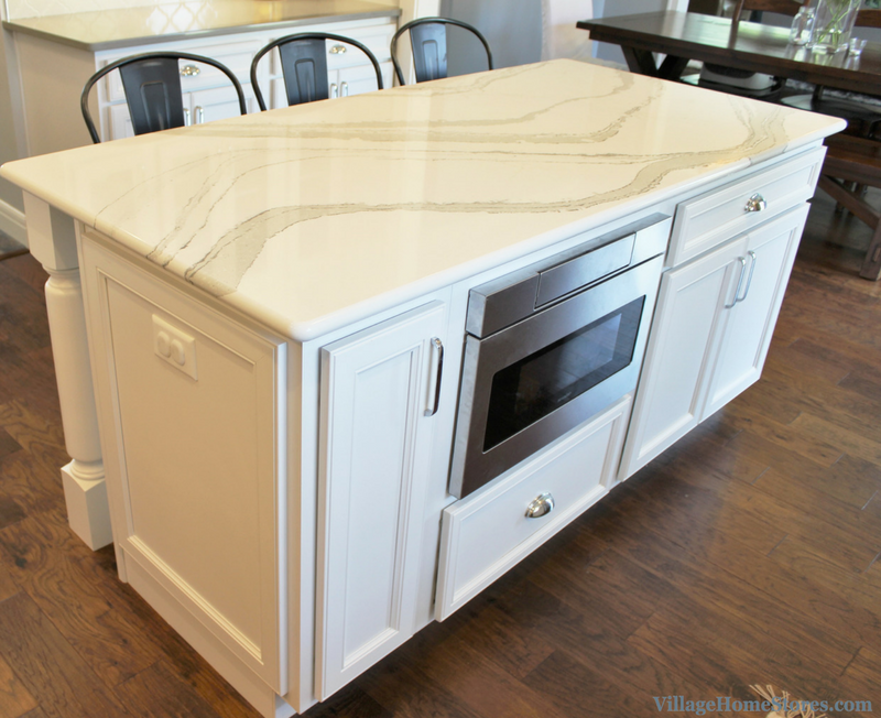 Kitchen Island With Sharp Microwave Drawer Home By Hazelwood Homes Villageho Kitc In 2020 Kitchen Island Plans Curved Kitchen Island Green Kitchen Island