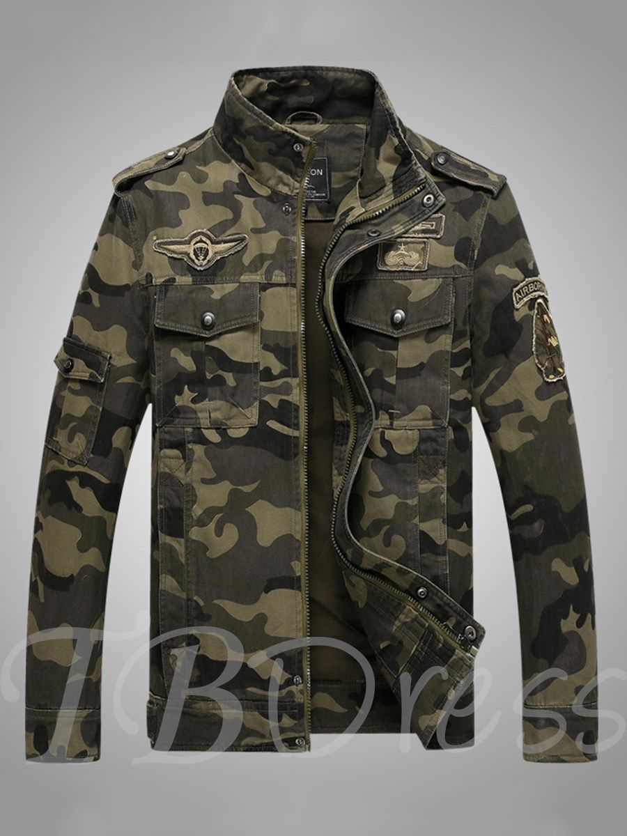 Stand Collar Camouflage Zipper Slim Fit Casual Men S Jacket Mens Jackets Casual Camouflage Military Jacket Jackets Men Fashion [ 1200 x 900 Pixel ]