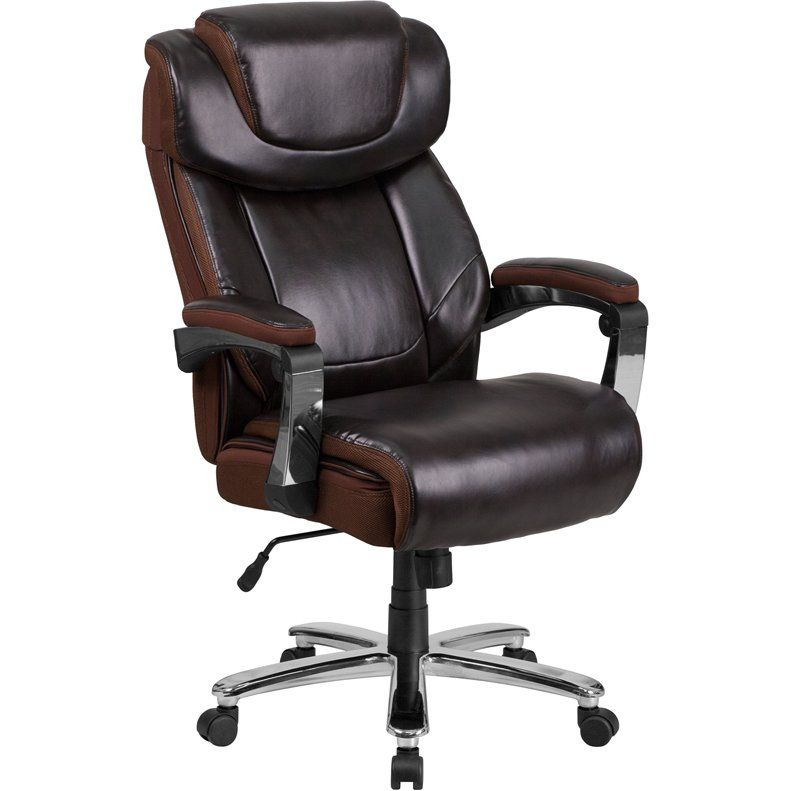 Big and tall brown executive office chair brown leather