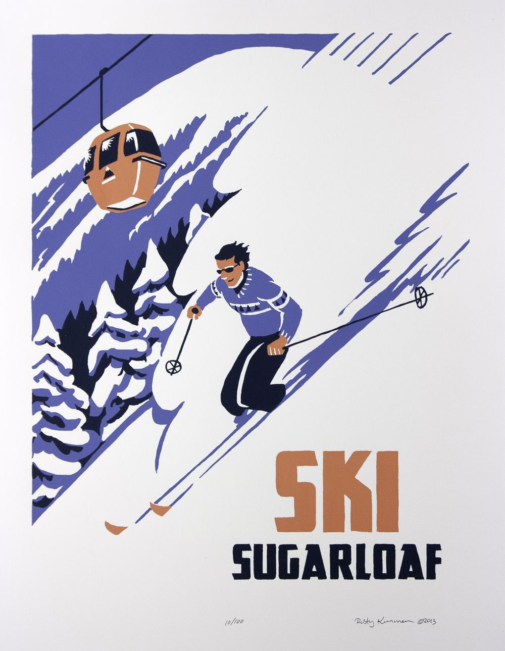 Sugarloaf This is a signed, limited edition, hand-made screen print in the style of  of a vintage-style ski poster.The first in our original
