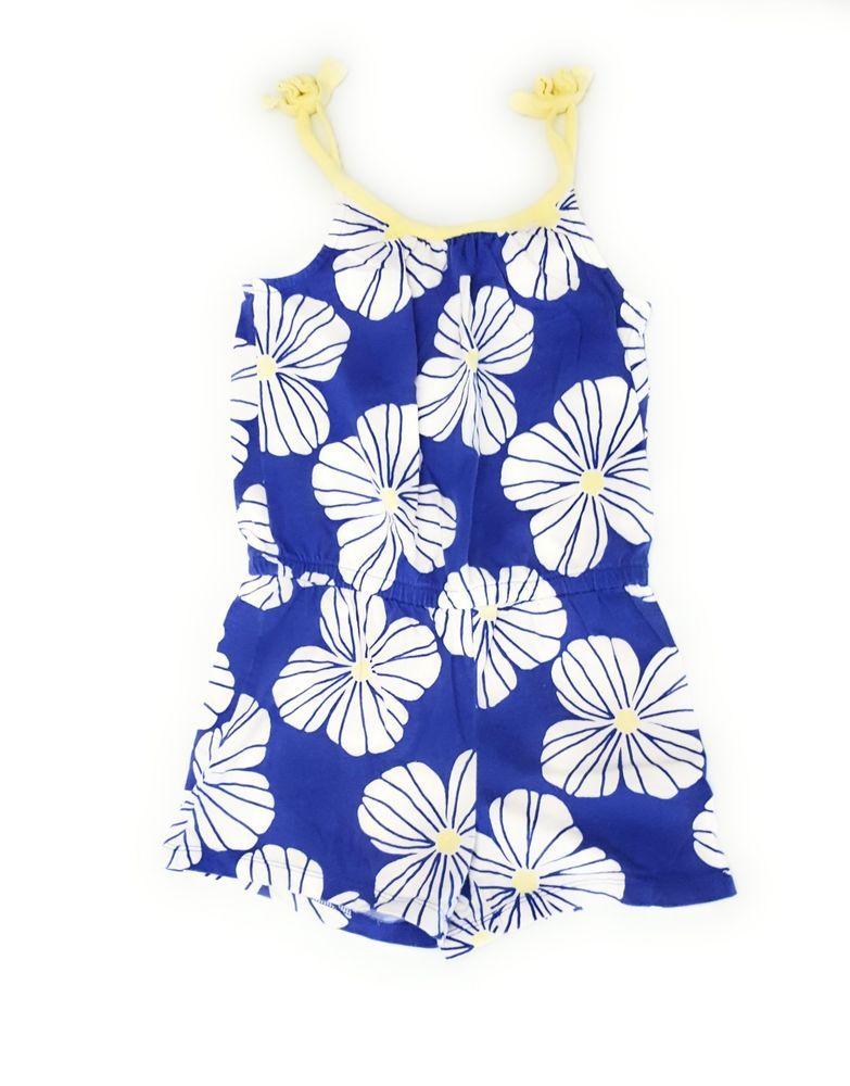 a254a77d3c5 Gymboree Girls Blue White Flowers Romper Knit Short Size 7  Gymboree  Romper