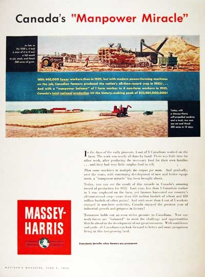 1953 Massey Harris original vintage advertisement. Massey Harris is the Canadian division of Massey Ferguson. Features a color illustration of a self-propelled combine at work in the fields.
