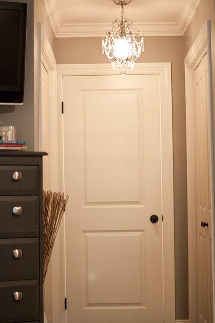 Mini Chandelier In Closet Area...brilliant!