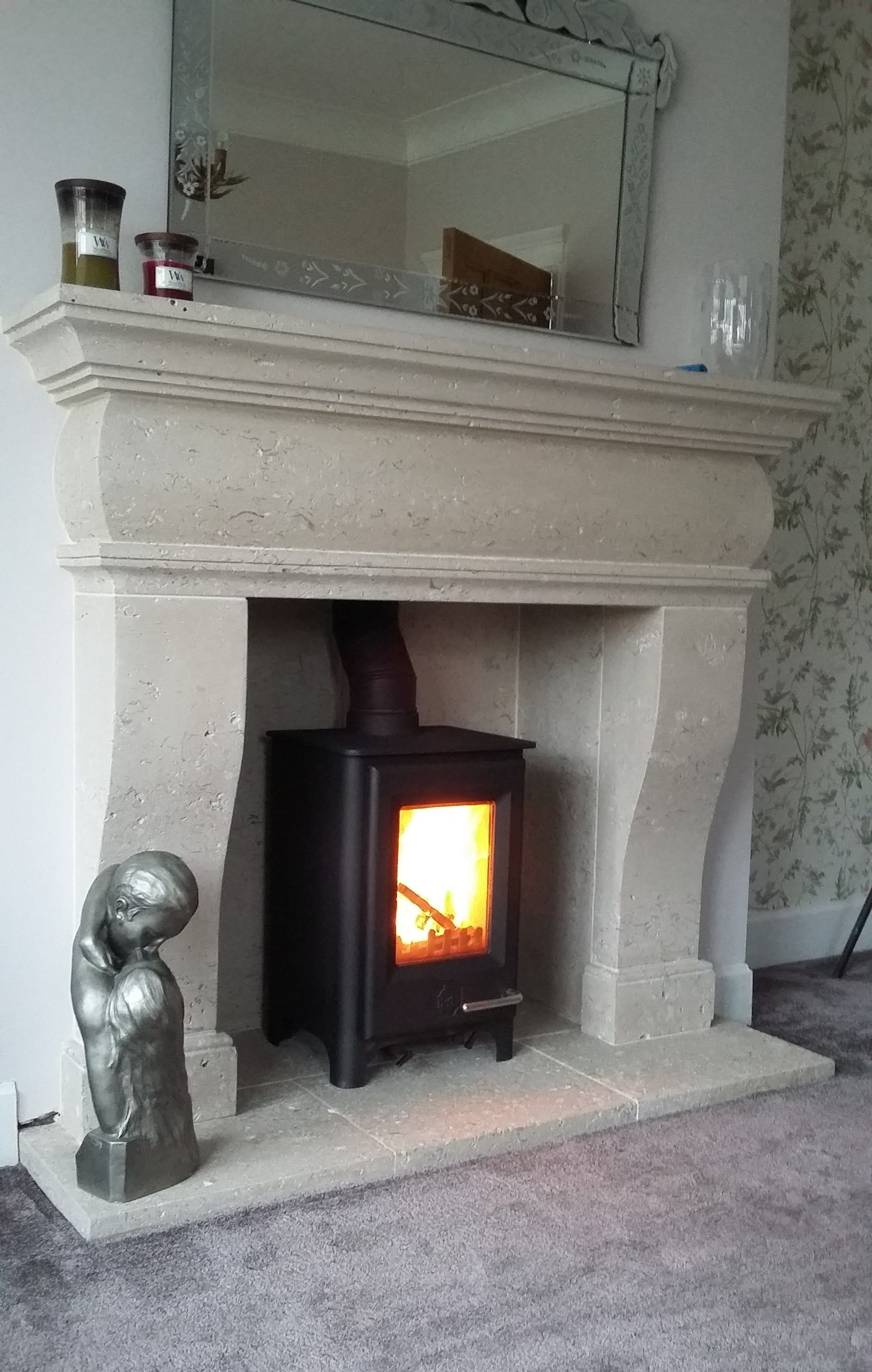 The Cheminee Solid Natural Stone Fireplace Hand Carved In Portland Limestone Installed In Lancashire Home Decorating Ideas In 2019 Natural Stone Fireplaces Sandstone Fireplace Portland Stone