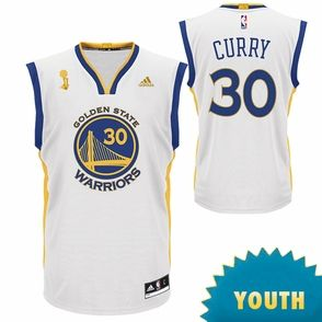 f9ab13c4d60 Golden State Warriors adidas Youth Stephen Curry Trophy Ring Banner Replica  Jersey - White