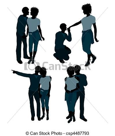 african american couple illustration silhouette great for scrapping