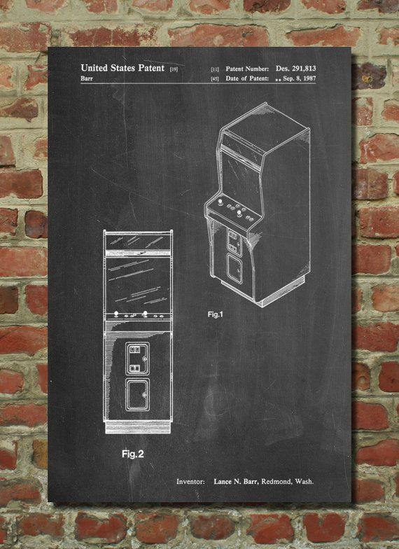 Arcade Game Cabinet Front Figure Patent Poster, Game Room Wall Art ...