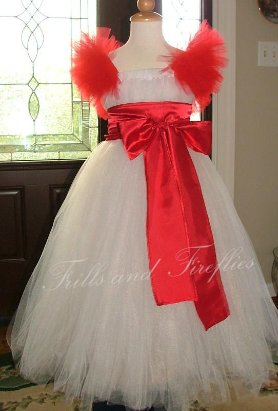 White & Red Holiday Tutu Dress with Beautiful Red Satin Sash by FrillsandFireflies, $95.00
