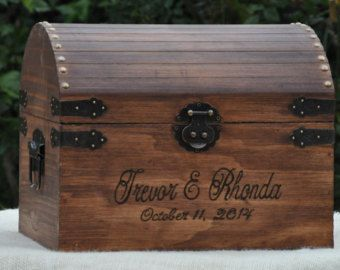 Medium Personalized Rustic Wedding Card Box Woodland Country Chic Treasure Chest