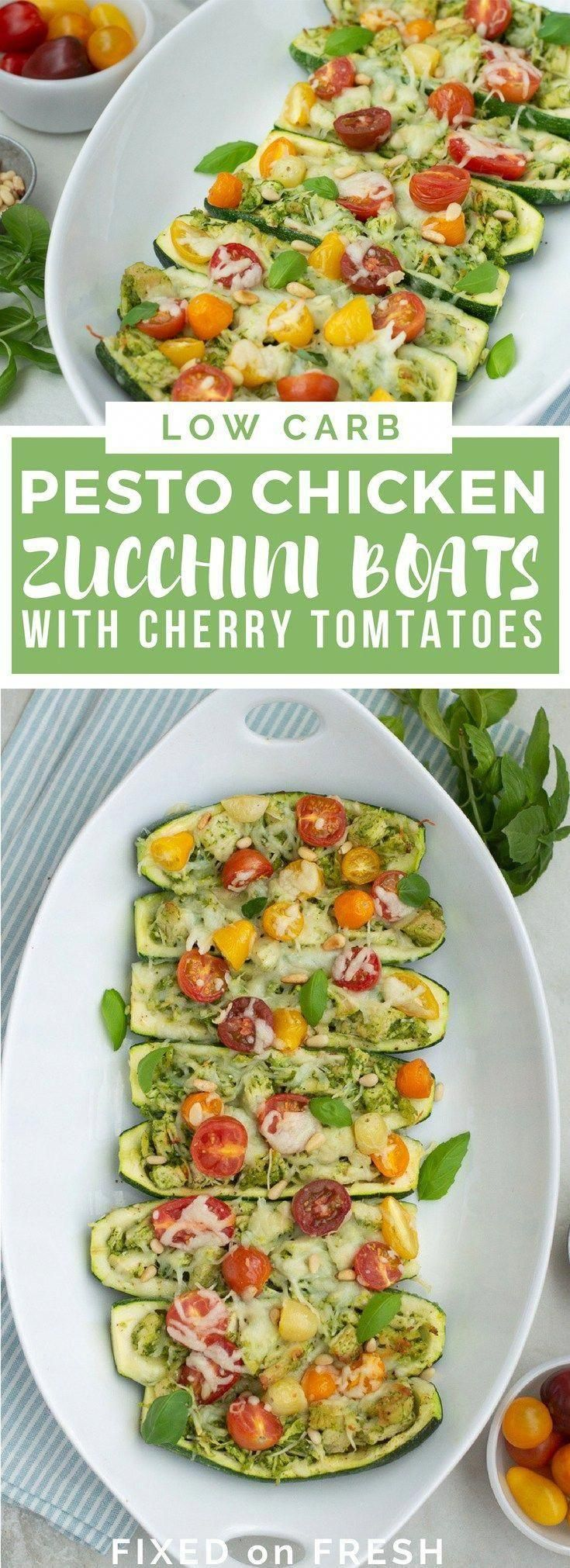 Low Carb Pesto Zucchini Boats with Cherry Tomatoes is an easy healthy dinner tha  low carb recipes