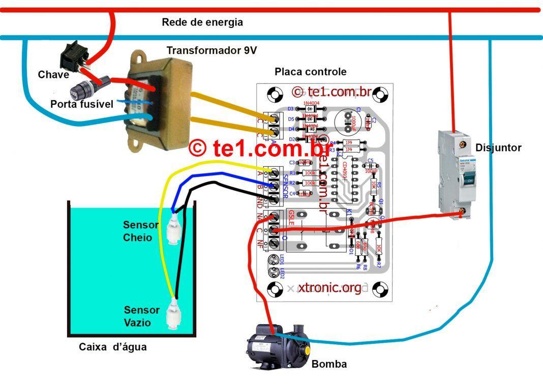 Circuito Optoacoplador : Esquema ligacao bomba agua automatica boia 700x499 circuito de