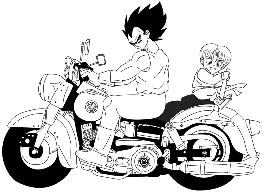 Dbz On Motorcycles Vegeta Dragon Ball Art Dragon Ball Anime