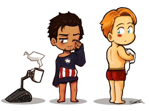 fizzsup: I wanted to draw Tony only wearing a Captain ...