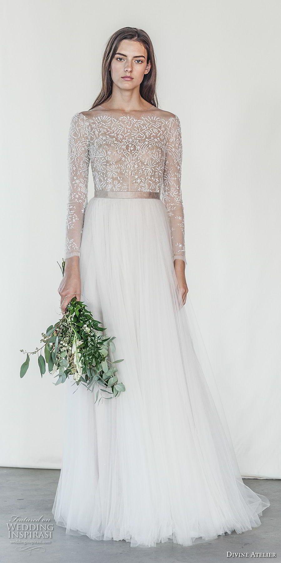Sheer long sleeve wedding dresses  divine atelier  bridal long sleeves bateau neck heavily