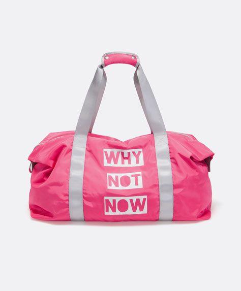 d221941c5e82 Soft gym bag with text detail - OYSHO