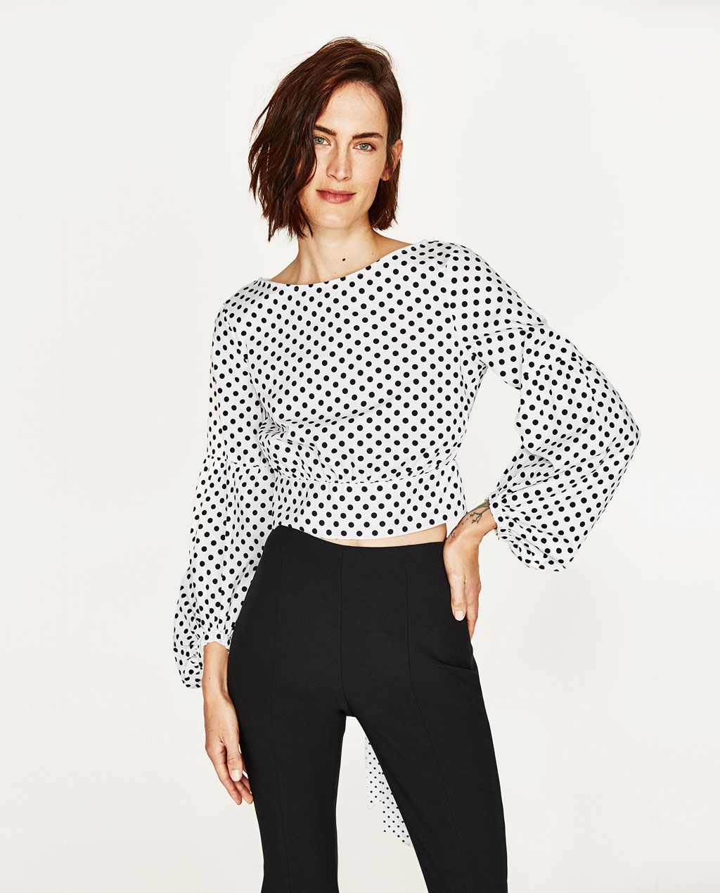 7dd1da28b04279 Image 1 of POLKA DOT TOP from Zara | Style | Polka dots, Blouse ...