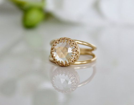 Valentine s Day Sale 14k Gold ring solid gold jewelry crystal