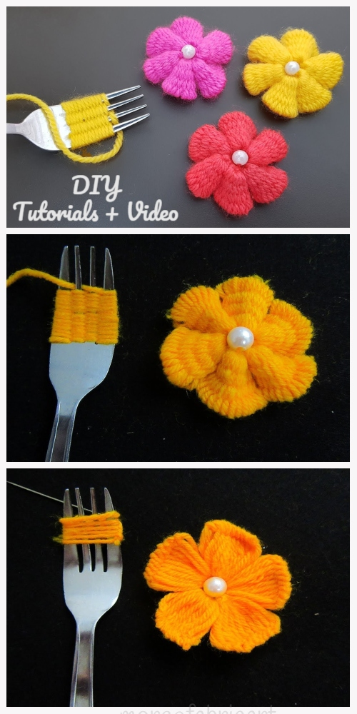 Photo of Fun Hand Embroidery Yarn Flower DIY Tutorial with Fork – Video