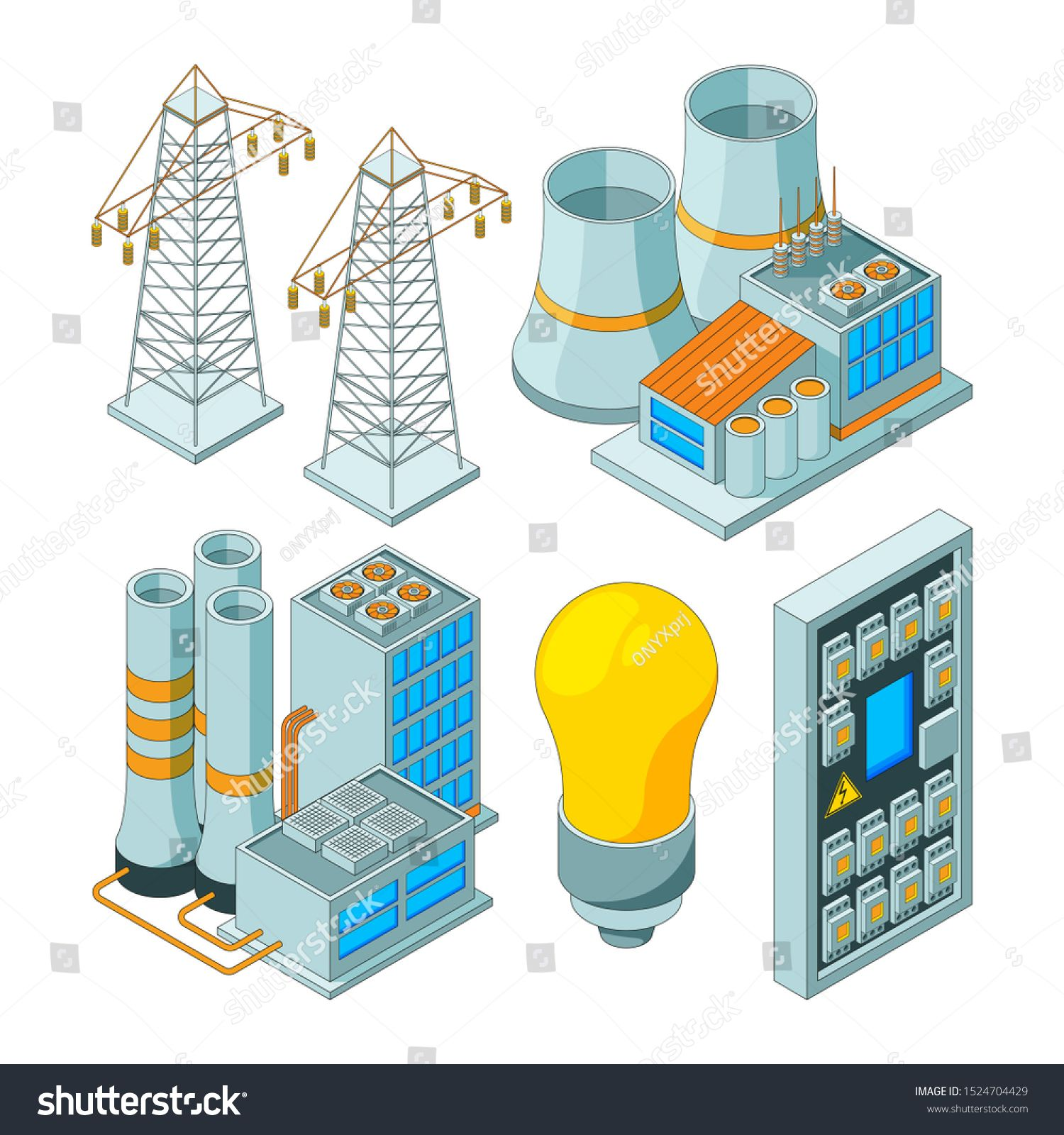 Energy Electric System Power Lighting Generators Saving Electrical Light Tools Isometric Illustrations Royalty Free I Isometric Illustration Electricity Power