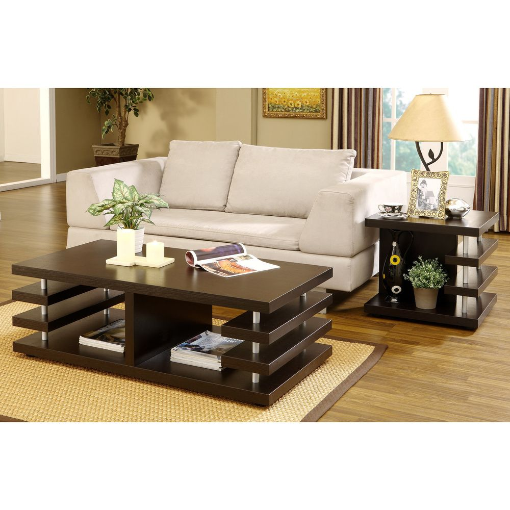 Furniture of America Architectural Inspired Dark Espresso End Table ...