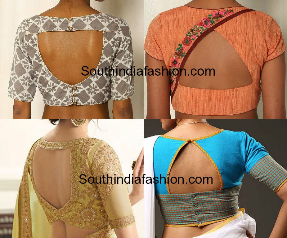 Triangle Shaped Blouse Back Neck Designs South India Fashion Plain Blouse Designs Blouse Neck Designs Blouse Design Models