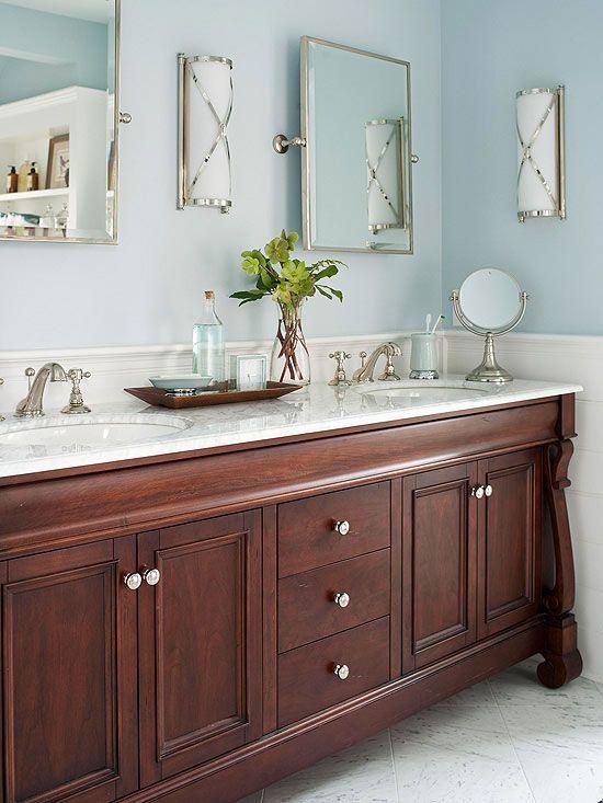 Black Vanity Bathroom Blue Wall: Stylish Bathroom Color Schemes