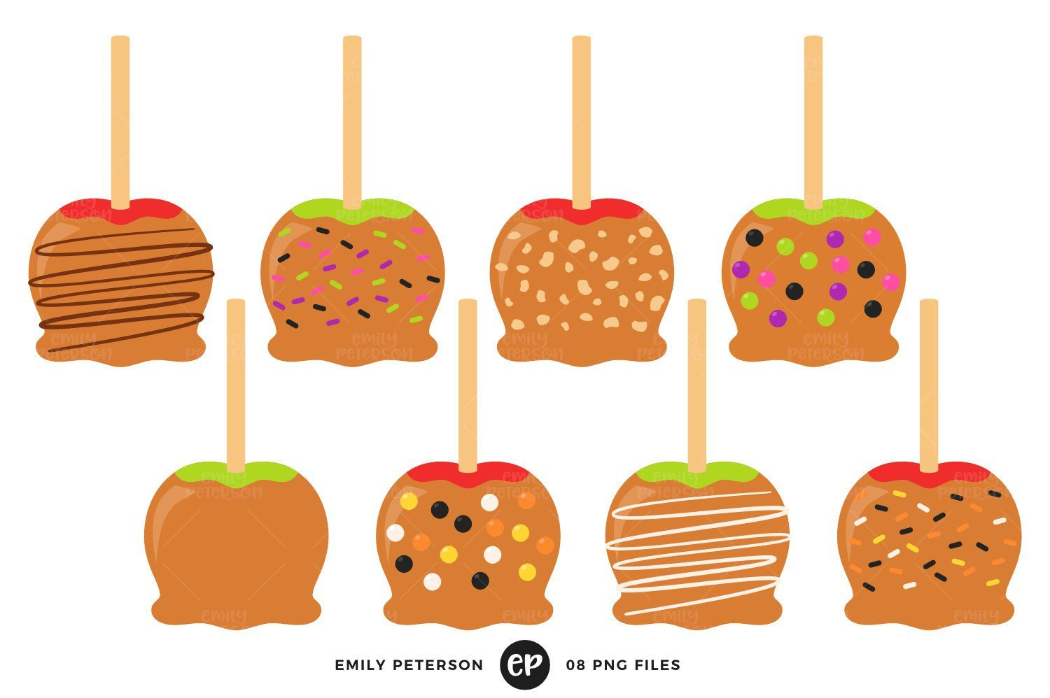 Caramel Apples Clip Art Candy Apples Clipart Halloween Candy Etsy Caramel Apples Apple Clip Art Candy Apples