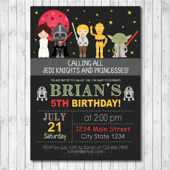 Star wars invitation star wars invite star wars birthday star star wars birthday invitation card digital by funkymushrooms filmwisefo Image collections