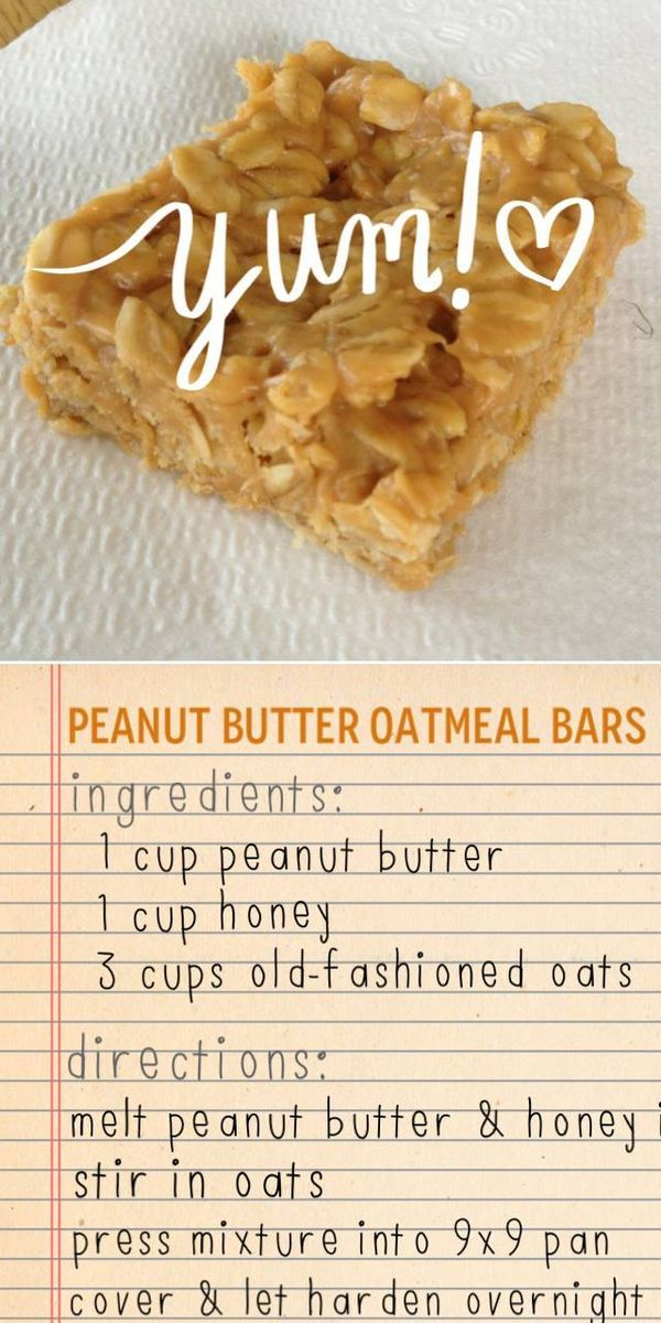 Peanut Butter Oatmeal Bars   PB goodness   Peanut butter