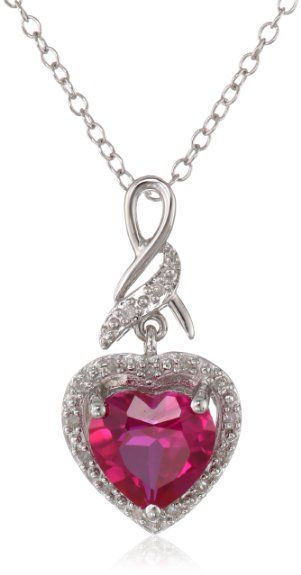 "Amazon.com: Sterling Silver and Created Ruby Diamond-Accented Heart Pendant Necklace, 18"": Jewelry"