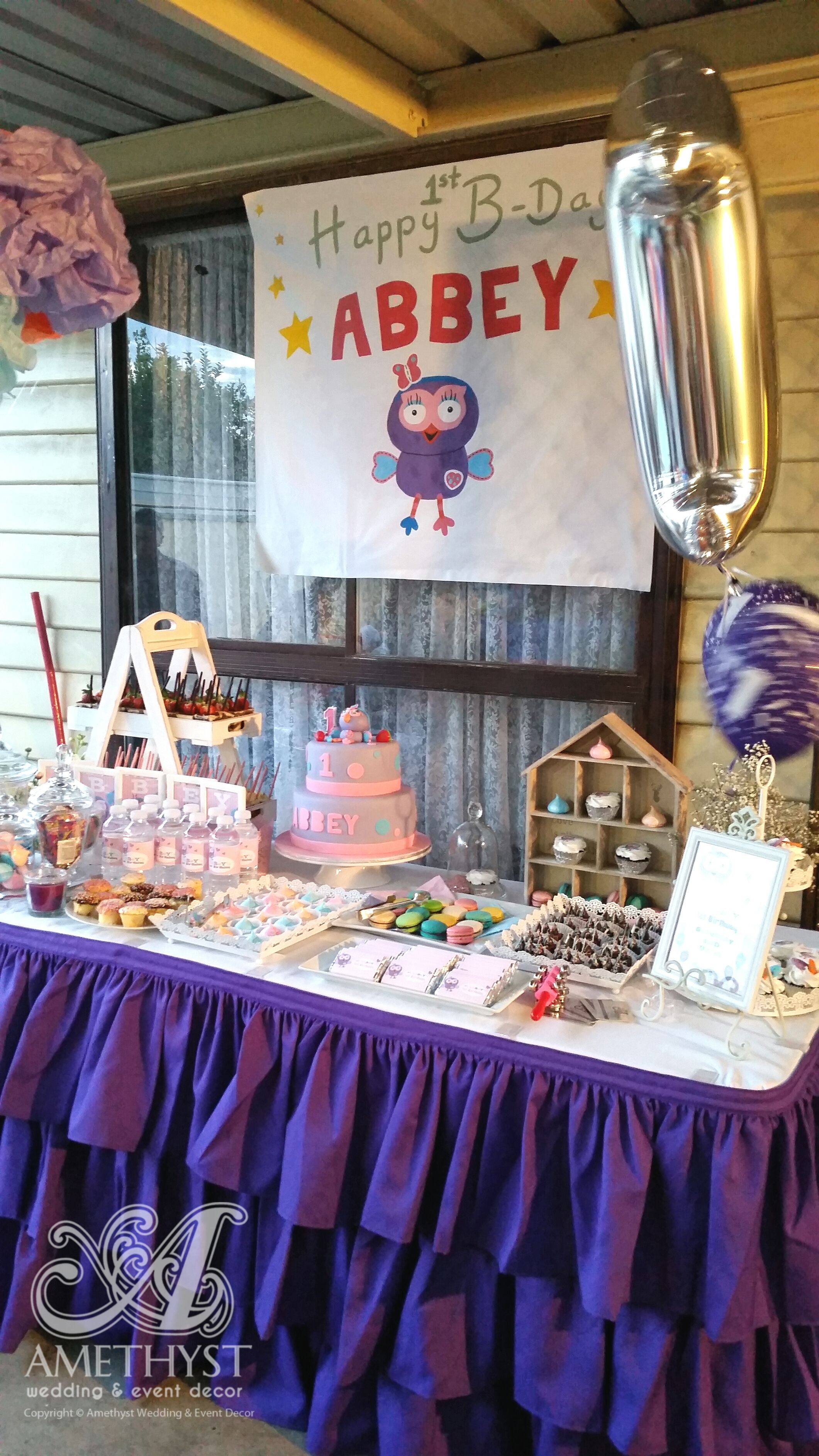 Purple Ruffle table skirting for dessert/candy table
