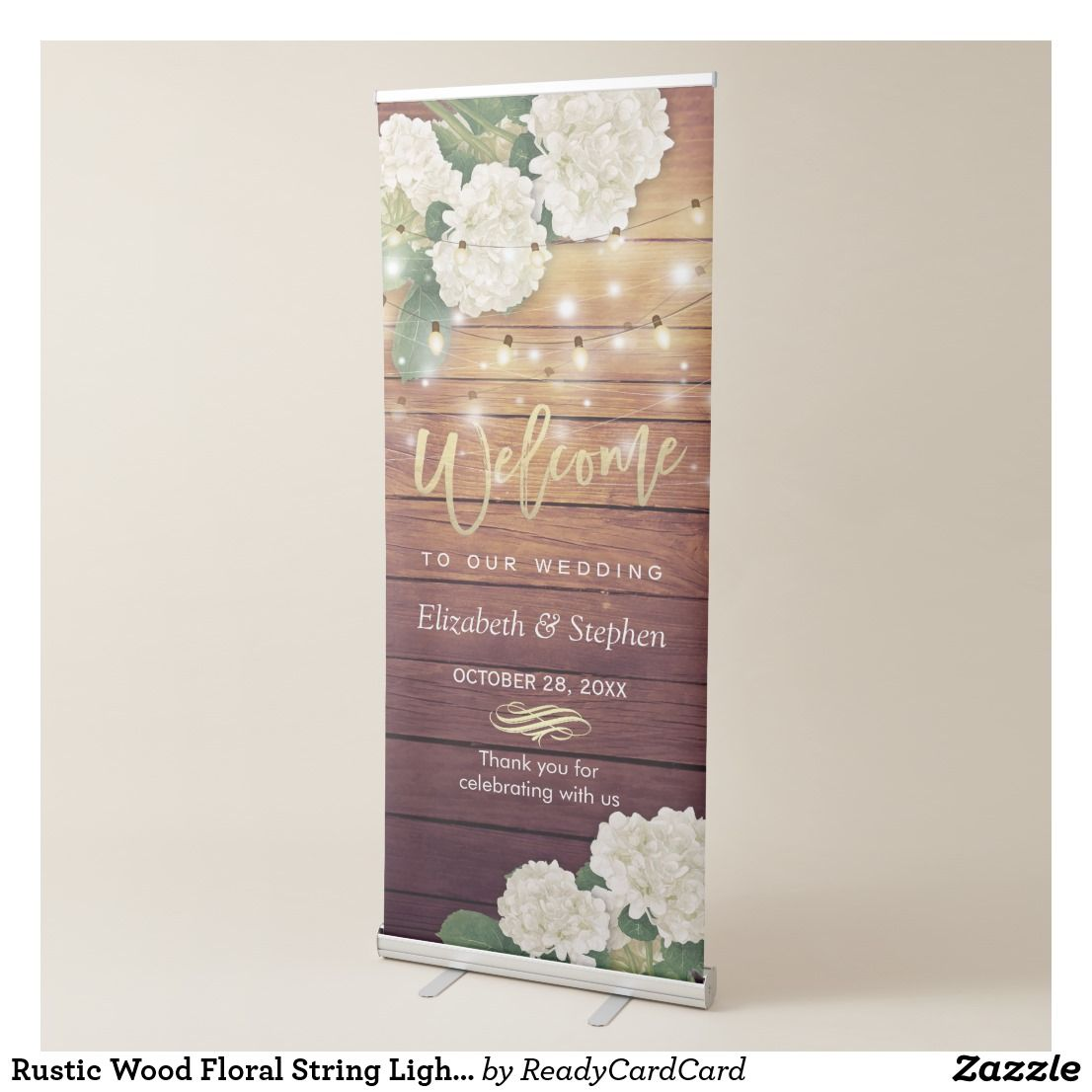 Rustic Wood Floral String Lights Wedding Welcome Retractable Banner Templates