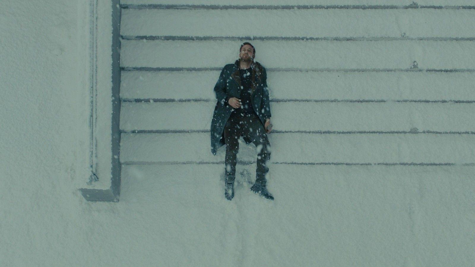 Blade Runner Blade Runner 2049 Snow Winter Stairs Movies Men Actor Ryan Gosling Lying Down