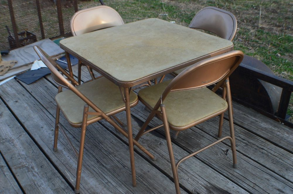 Set Of 4 Vintage Samsonite Padded Folding Chairs Style