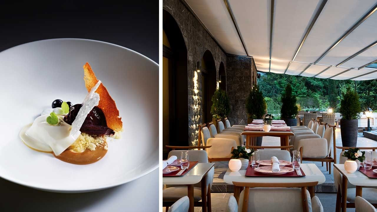 Restaurant at the Alpina Gstaad Hotel. Fine dining and exquisite meals at the mountain hotel
