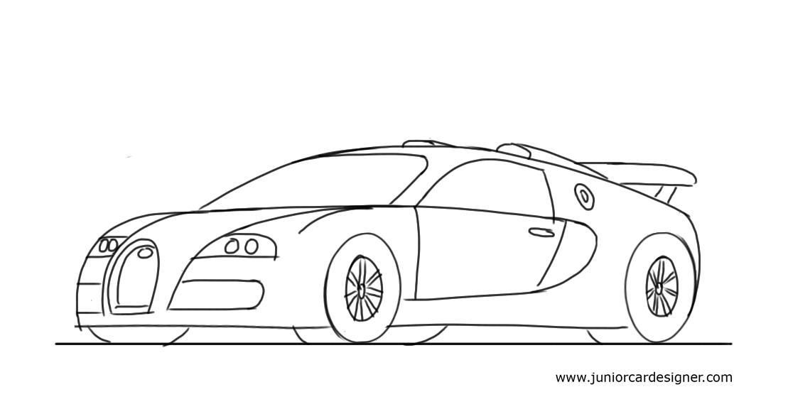 How To Draw A Sports Car for Kids: Bugatti Veyron | Pinterest