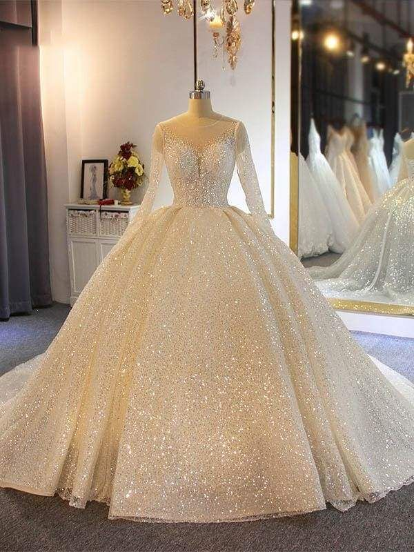 Photo of Sparkling Shinny Lone Sleeves Lace Ball Gown Wedding Dresses