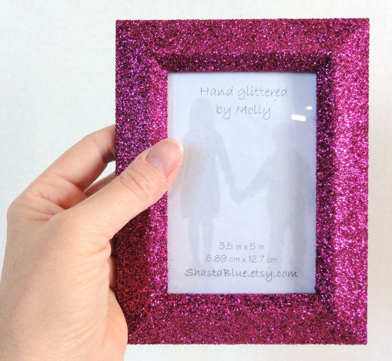 Pink Glitter Picture Frame, Hot Fuscia Pink Hand Glittered Photo ...