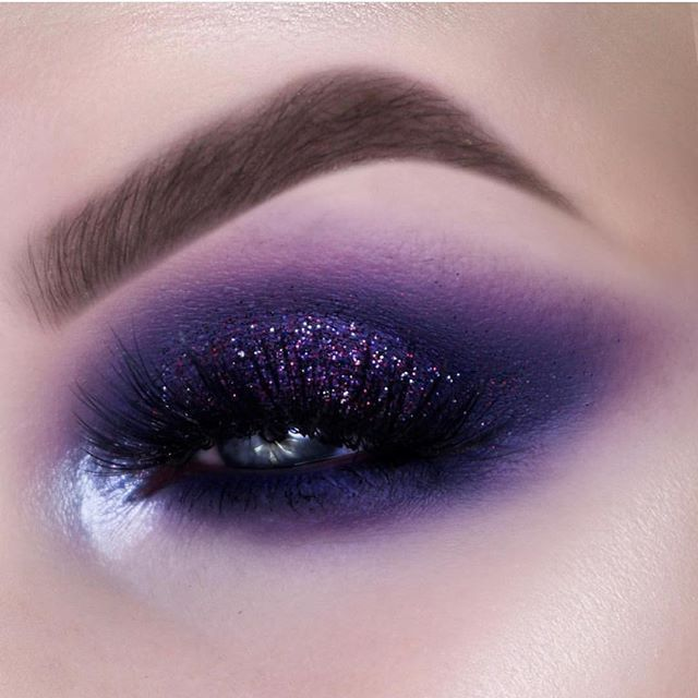 Purple and glitter eye makeup