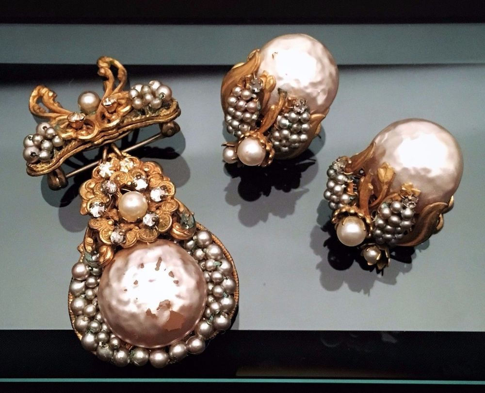 Us miriam haskell signed faux pearl earring u convertible brooch