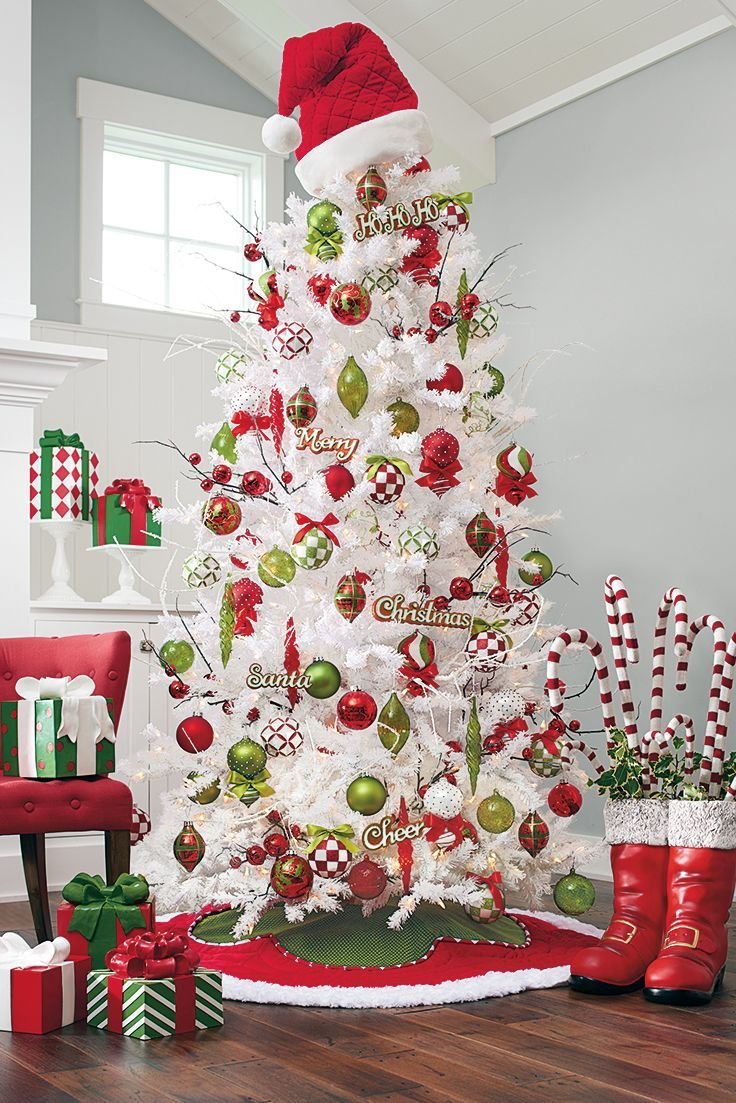 Cute With The Santa Hat As A Topper Too Christmas Decorations Christmas Decor White Christmas Tree Decorations Christmas Tree Themes White Christmas Trees