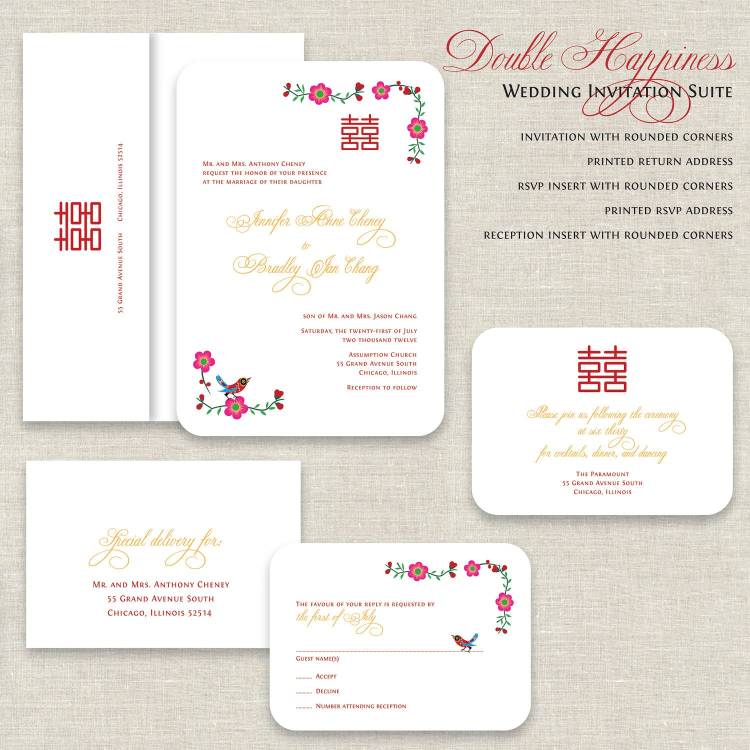 Chinese Wedding Invitations Double Happiness By Paperimpression Chinese Wedding Invitation Wedding Invitation Wording Templates Chinese Wedding Invitation Card