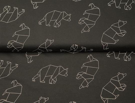 ceb070cb7e4 Monochrome Geometric Bear in BIO Cotton Jersey - Lilly and Mimi Fabric Shop