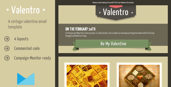 Valentines day email templates newsletter templates for email a clean retro valentine email template with a two column layout for a valentine promotional newsletter details 4 vintage valentine html email templates 4 spiritdancerdesigns Gallery