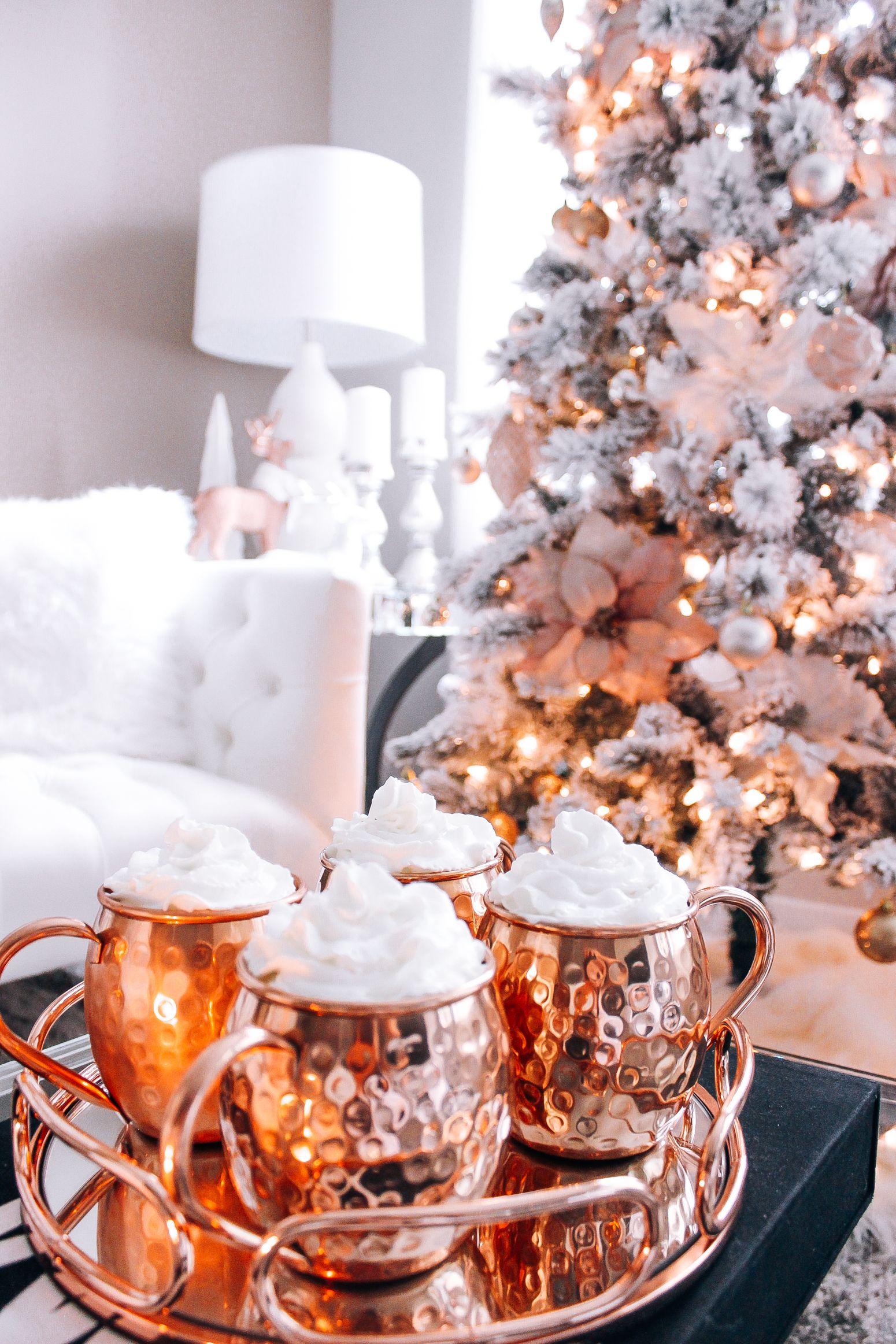 Blush Pink Rose Gold White Christmas Decor Christmas Tree Decorations Rose Gold Christmas Christmas Decorations