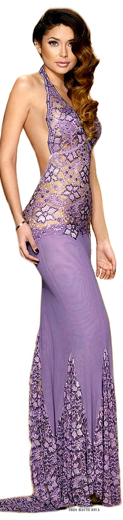 Camille Flawless Mermaid Purple Swarovski Crystals Gown
